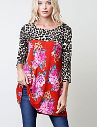 cheap -Women's Daily Winter Fall T-shirt,Print Leopard Round Neck 3/4 Length Sleeves Cotton Rayon Thin