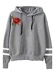 cheap -Women's Daily Holiday Hoodie Print Hooded Inelastic Polyester Winter Fall