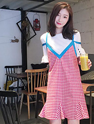 abordables -Mujer Vintage Noche Verano T-Shirt Falda Trajes,Escote Redondo Ajedrez Manga Corta Microelástico