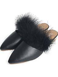 Femme Chaussures Polyuréthane Automne Confort Sabot & Mules Talon Bottier Bout pointu Pour Décontracté Noir Beige