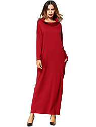 cheap -Women's Daily Going out Kaftan Dress,Solid Turtleneck Maxi Knee-length Long Sleeves Polyester Fall Mid Rise Micro-elastic Medium
