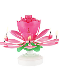 cheap -Happy Birthday Candles Electric Led For Cake Musical Lotus Flower Art Rotating Lights Lamp Party Decoration