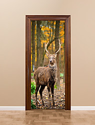 cheap -DIY 3D Forest Deer Wall Stickers DIY Mural Bedroom Home Decor Poster PVC Waterproof Animals Deer Door Sticker Decal for Kids Room 77x200cm