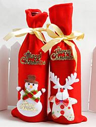 baratos -2pcs / set não tecido de decoração de Natal saco de garrafa de vinho vermelho