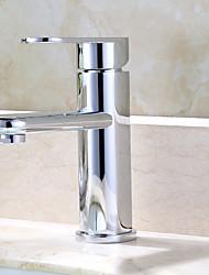 Contemporary Deck Mounted Adjustable Ceramic Valve One Hole Chrome , Bathroom Sink Faucet