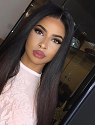 cheap -Women Human Hair Lace Wig Brazilian Remy Glueless Lace Front 130% Density With Baby Hair Straight Wig Black/Medium Browm Short Medium