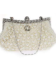 Women Bags All Seasons PVC Evening Bag Pearl Detailing for Wedding Event/Party Champagne Black Beige