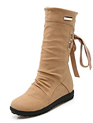 cheap -Women's Shoes Leatherette Fall / Winter Fashion Boots / Snow Boots / Ankle Strap Boots Platform / Wedge Heel Round Toe Mid-Calf Boots