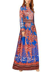 cheap -Women's Vintage Boho Jalabiya Dress Print High Rise Maxi