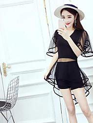 Damen Solide Einfach Lässig/Alltäglich T-Shirt-Ärmel Hose Anzüge,V-Ausschnitt Sommer Kurzarm Mikro-elastisch