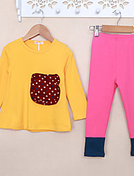 cheap -Girls' Solid Color Block Polka dots Clothing Set,Cotton Spring Fall Long Sleeve Trousers Tops Korean Adorable Yellow Fuchsia