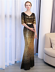 cheap -Mermaid / Trumpet V-neck Ankle Length Sequined Formal Evening Dress with Sequins by Embroidered Bridal
