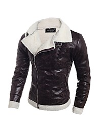 cheap -Men's Daily Going out Simple Casual Street chic Punk & Gothic Winter Fall Regular Leather Jacket V Neck PU Print