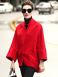 Women's Daily Work OL Style Simple Casual Winter Fall Coat,Solid V Neck Long Sleeve Short Wool