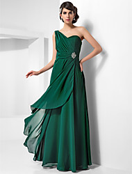 Sheath / Column One Shoulder Floor Length Chiffon Evening Dress with Crystal by TS Couture®