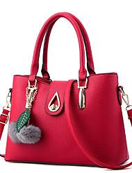 economico -Donna Sacchetti PU (Poliuretano) Tote Cerniera per Casual Per tutte le stagioni Blu Nero Rosso Rosa Grigio argento