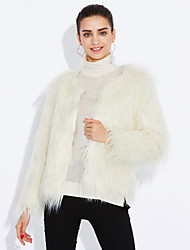 cheap -Women's Party Evening Casual Coats / Jackets Vintage Winter Spring Fall Long Sleeve Faux Fur