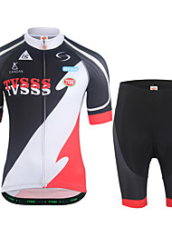 cheap -Men's Short Sleeves Cycling Jersey with Shorts - Black/White Bike Clothing Suits
