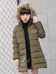 cheap -Girls' Print Embroidered Down & Cotton Padded,Polyester Winter Fall Long Sleeve Cartoon Black Red Beige Army Green