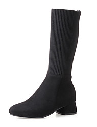 Feminino Sapatos Tricô Pele Nobuck Courino Outono Inverno Botas da Moda botas de desleixo Botas Salto Grosso Ponta Redonda Botas Cano