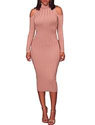 Tricot Robe Femme Sortie Soirée Sexy Chic de Rue,Couleur Pleine Col Roulé Midi Manches Longues Polyester Printemps Automne Taille Normale