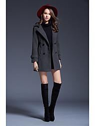Manteau Femme,Couleur Pleine Grandes Tailles Décontracté / Quotidien Sophistiqué Chic de Rue Hiver Manches longues Revers en Pointe Normal