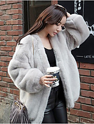 cheap -Women's Simple Casual Fox Fur Fur Coat-Solid Colored V Neck