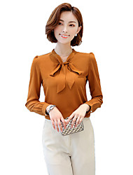 cheap -Women's Work Plus Size Street chic Spring Fall Shirt,Solid V Neck Long Sleeves Polyester Medium