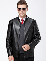 cheap -Men's Daily Simple Vintage Casual Winter Fall Leather Jackets,Solid Stand Long Sleeve Regular Lambskin