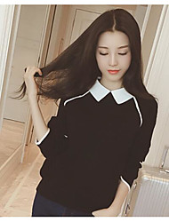 cheap -Women's Going out Long Sleeve Pullover - Color Block Shirt Collar / Spring / Winter