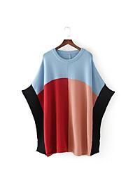 Standard Pullover Da donna-Per uscire Casual Monocolore Rotonda Mezza manica Cotone Altro Primavera Autunno Sottile Media elasticità