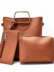 Mulher Bolsas Couro Ecológico Conjuntos de saco Bolsos Caixilhos / Fitas para Todas as Estações Preto Vermelho Rosa Cinzento Marron