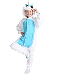 Kigurumi Pajamas Unicorn Costume Blue Polar Fleece Leotard / Onesie Cosplay Festival / Holiday Animal Sleepwear Halloween Solid For Kid