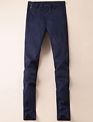 cheap -Men's Low Rise Inelastic Slim Chinos Pants,Casual Solid Winter Fall