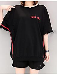 abordables -Mujer Chic de Calle Deportes Casual/Diario Verano T-Shirt Pantalón Trajes,Escote Redondo Un Color Media Manga