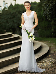 cheap -Mermaid / Trumpet V Neck Sweep / Brush Train Lace Wedding Dress with Beading Appliques by LAN TING BRIDE®