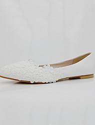 preiswerte -Damen Schuhe PU Frühling Herbst Komfort Neuheit Hochzeit Schuhe Spitze Zehe Applikation Perle Für Hochzeit Party & Festivität Weiß Rot