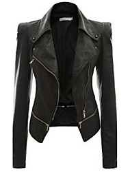 cheap -Women's Plus Size Leather Jacket - Solid Shirt Collar