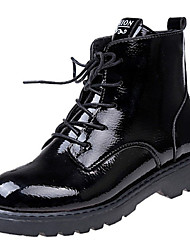 cheap -Women's Shoes Patent Leather Fall Comfort Boots Low Heel Round Toe Lace-up For Outdoor Black