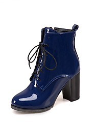cheap -Women's Shoes Patent Leather Fall Winter Ankle Strap Fashion Boots Boots Round Toe Booties/Ankle Boots Bowknot For Casual Party & Evening