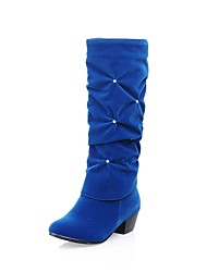 cheap -Women's Shoes Leatherette Fall Winter Fashion Boots Boots Chunky Heel Round Toe Knee High Boots Buckle For Casual Dress Blue Red Black