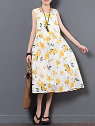 cheap -Women's Daily A Line Loose Dress,Floral Print Round Neck Midi Sleeveless Cotton Linen Summer Mid Rise Micro-elastic Thin