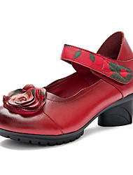 cheap -Women's Modern Real Leather Leather Sandal Sneaker Professional Flower(s) Chunky Heel Red Purple Black