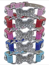 cheap -Dog Collar Adjustable Solid Bone PU Leather Red Blue Pink