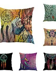 Set Of 6 Indian Ojibwe Dreamcatcher Vintage Baroque45*45Cm Sofa Cushion Cover