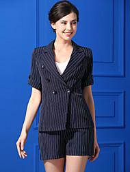 Feminino Camisa Calça Conjuntos Casual Simples Outono,Linhas / Ondas Decote V Manga Curta Micro-Elástica