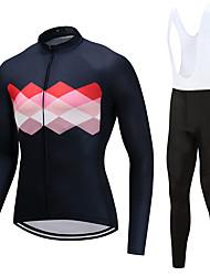 billiga Sport och friluftsliv-FUALRNY® Herr Långärmad Cykeltröja med Haklapp-tights - Rosa Cykel Klädesset Fleece