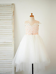 cheap -A-Line Asymmetrical Flower Girl Dress - Lace Tulle Short Sleeves Jewel Neck with Beading Buttons Sash / Ribbon by LAN TING BRIDE®