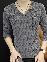 cheap -Men's Daily Casual Regular Pullover,Solid V Neck Long Sleeves Polyester Fall Medium Micro-elastic