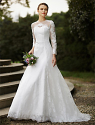 cheap -A-Line Jewel Neck Sweep / Brush Train Lace Wedding Dress with Beading Appliques Buttons by LAN TING BRIDE®
